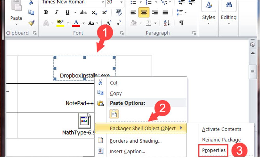 How to attach files in Word 4