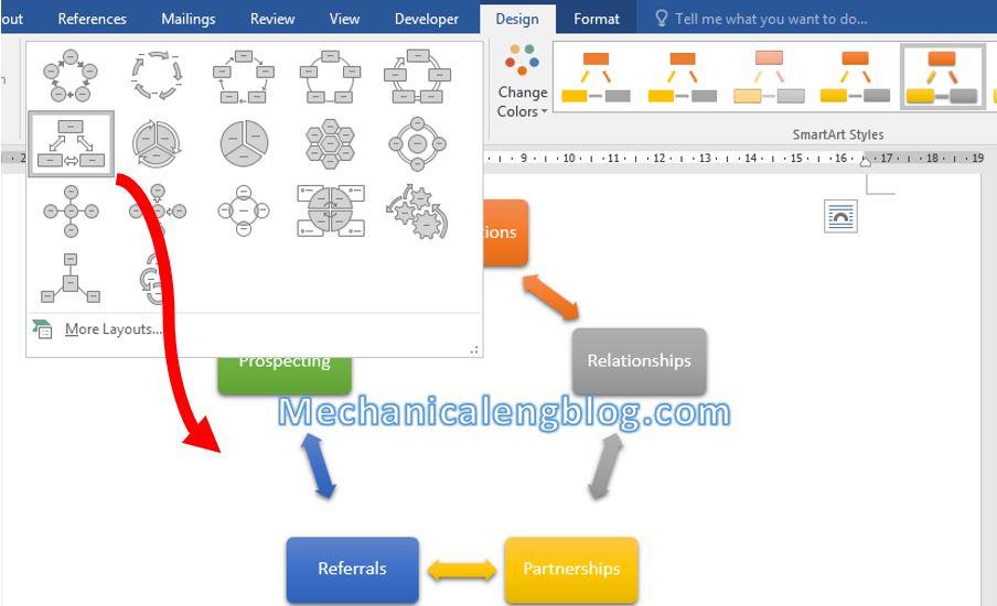 How to insert smartart in Word 5
