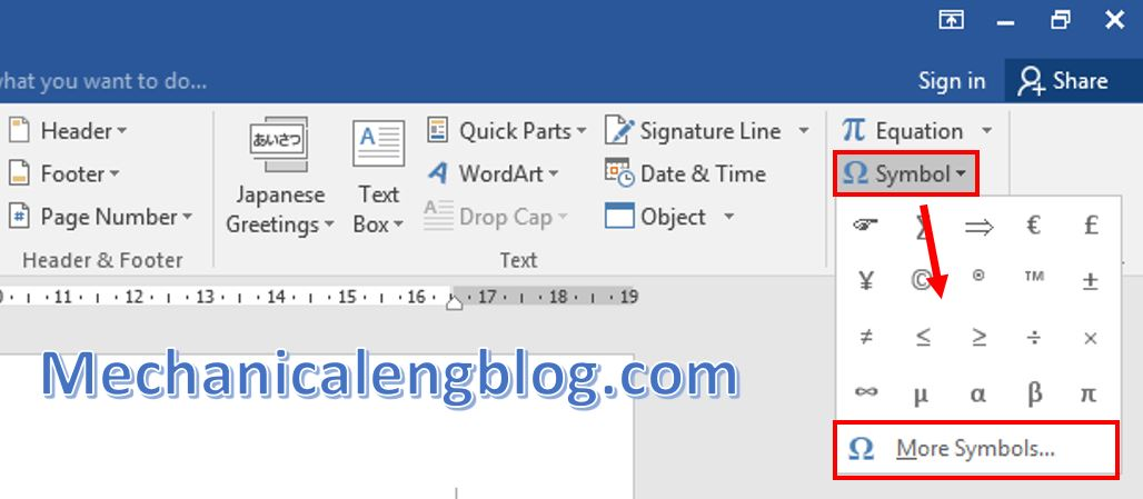 How to insert symbols in Word 1