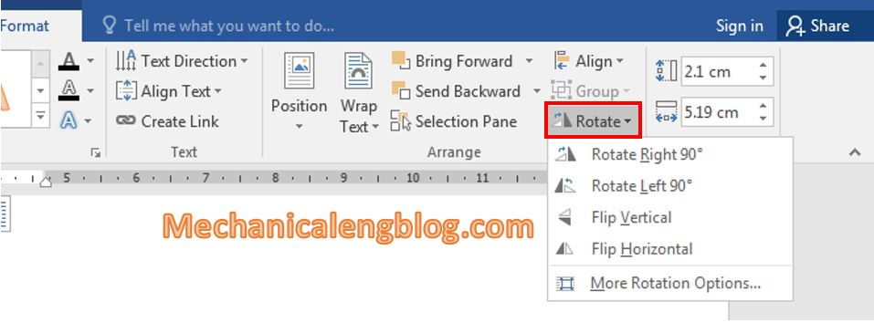 How to rotate text in Word 10