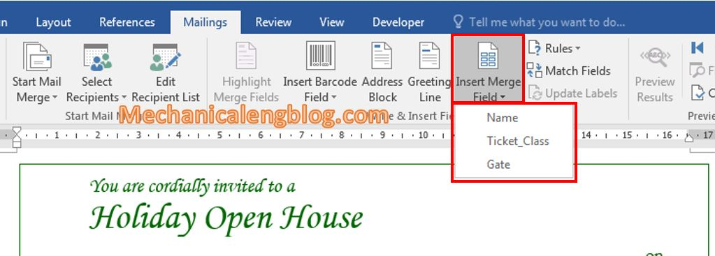 How to use mail merge in ms Word 9