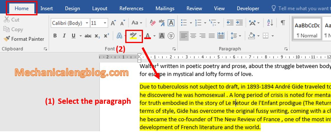 highlight text in Word 1