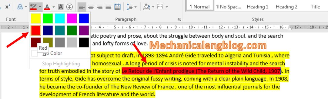 highlight text in Word 2
