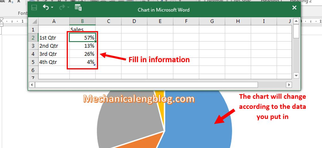 insert a chart in word 3