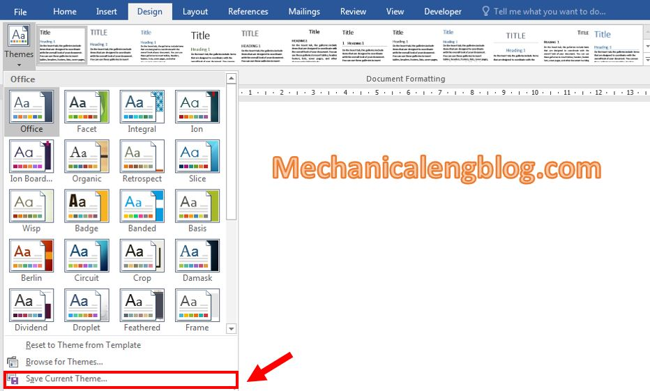 theme in word 5