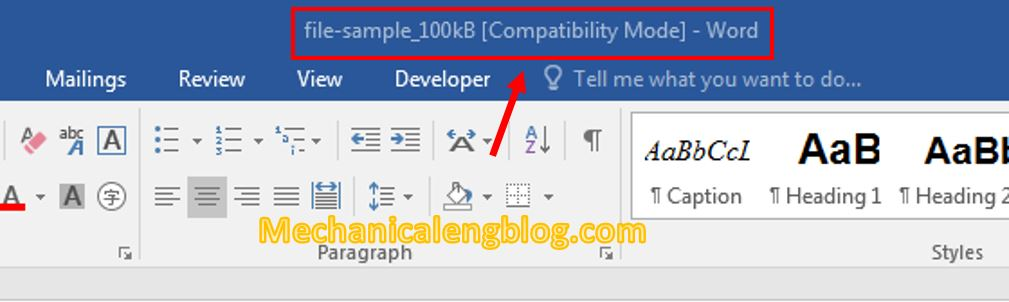 turn off Compatibility mode in Word 1