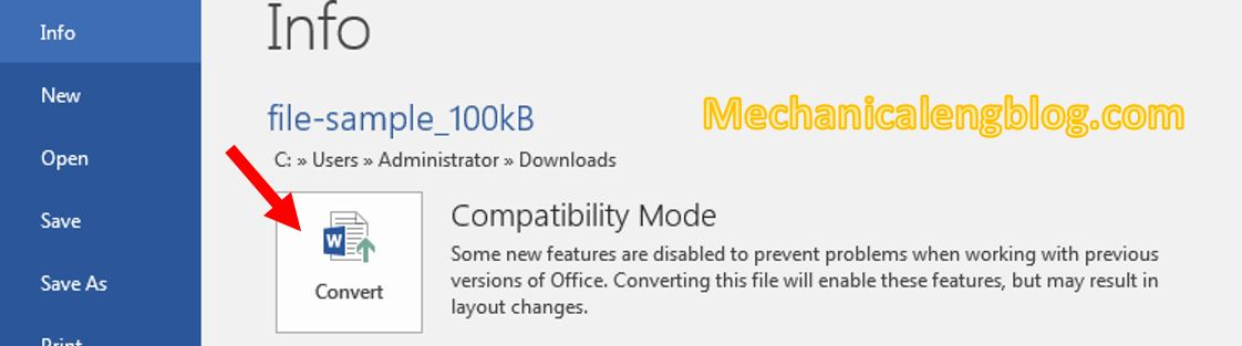 turn off Compatibility mode in Word 7