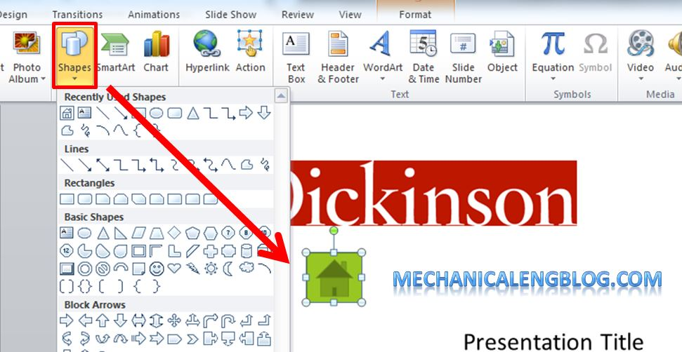 Create a menu in PowerPoint by Hyperlink 1