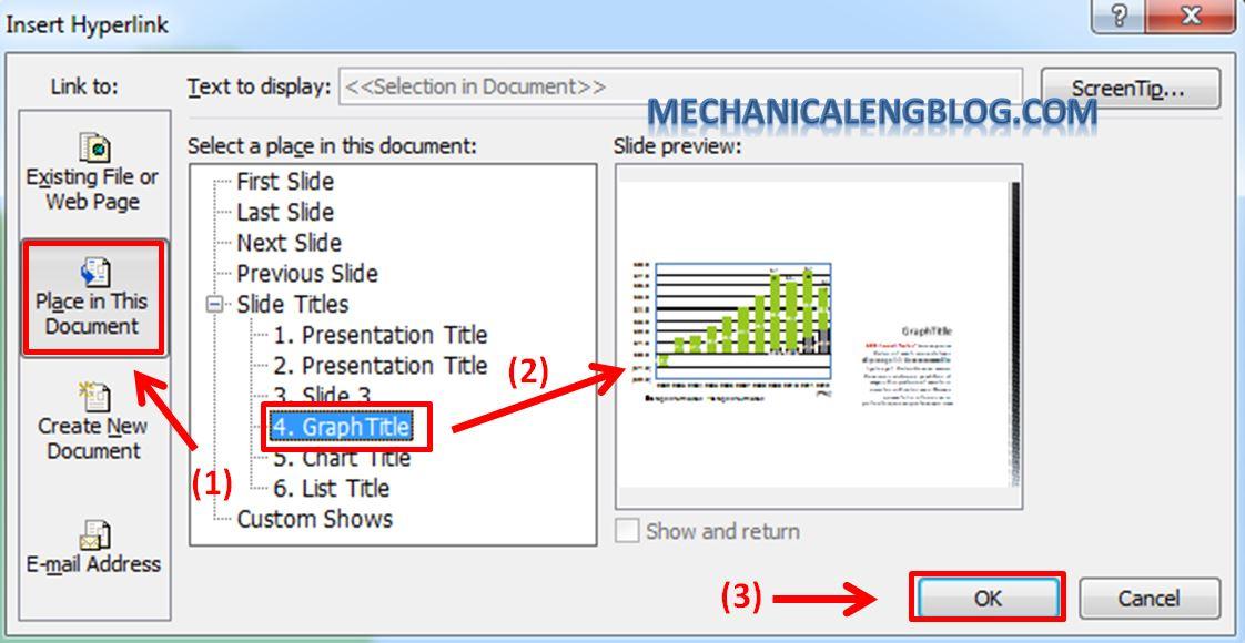 Create a menu in PowerPoint by Hyperlink 5