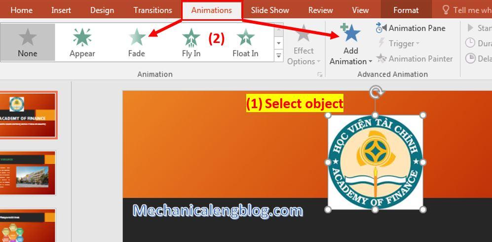 Powerpoint presentation format Add animations 1
