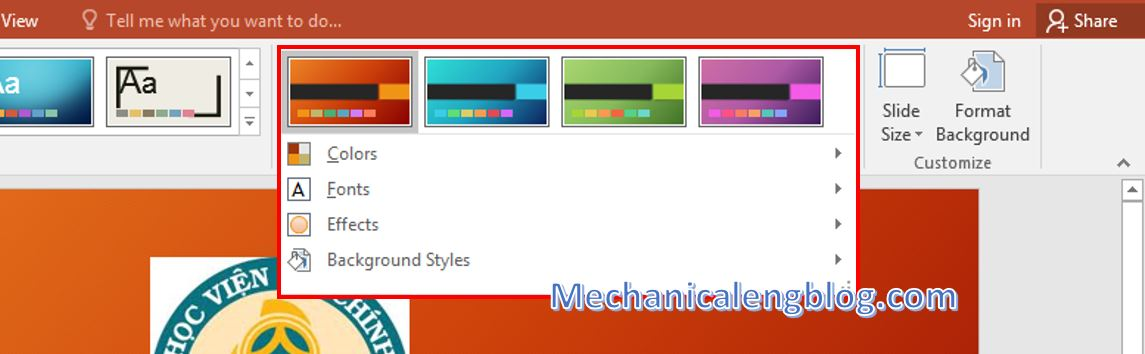 Powerpoint presentation format_Add a Theme for slide 2