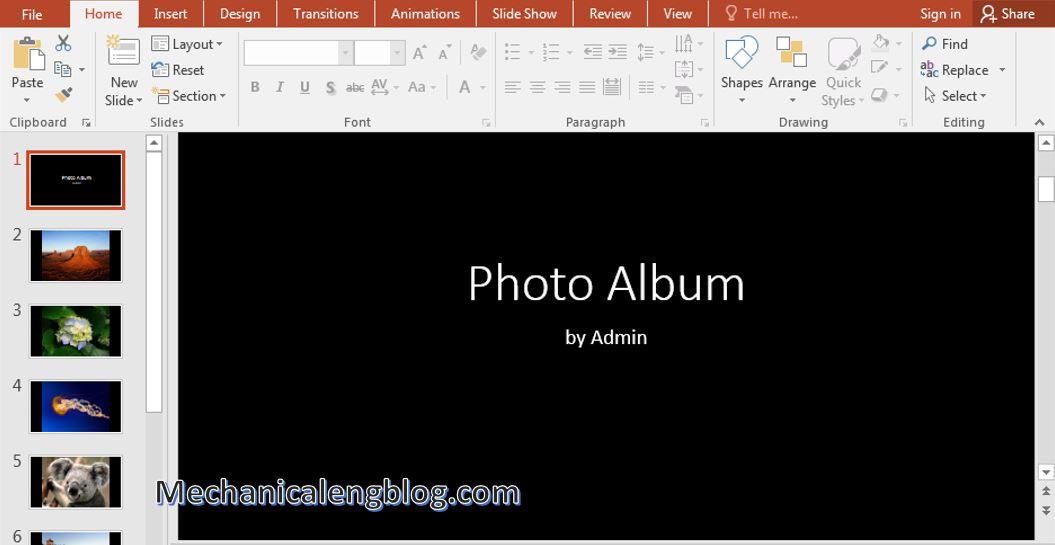 create a photo album in PowerPoint 7