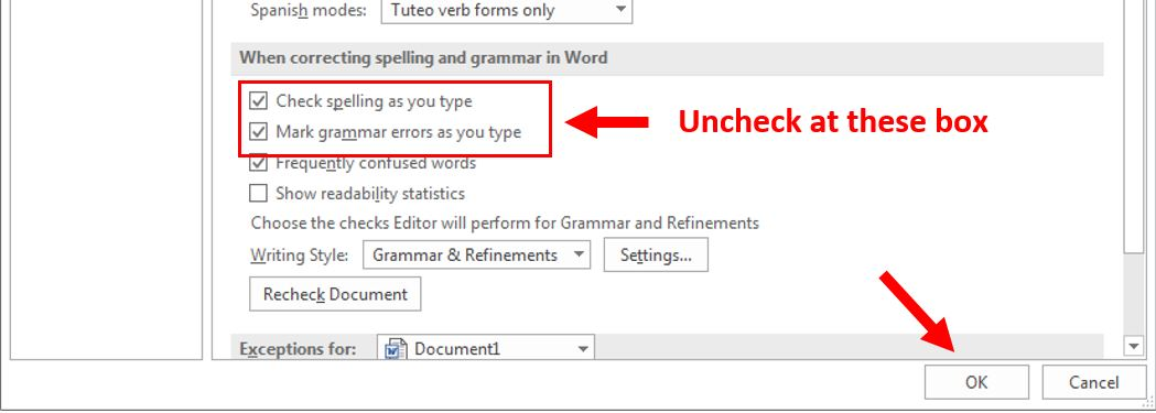 how to remove red underline in word 4