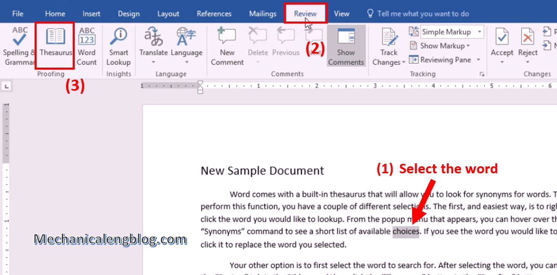 use of thesaurus in ms word 2