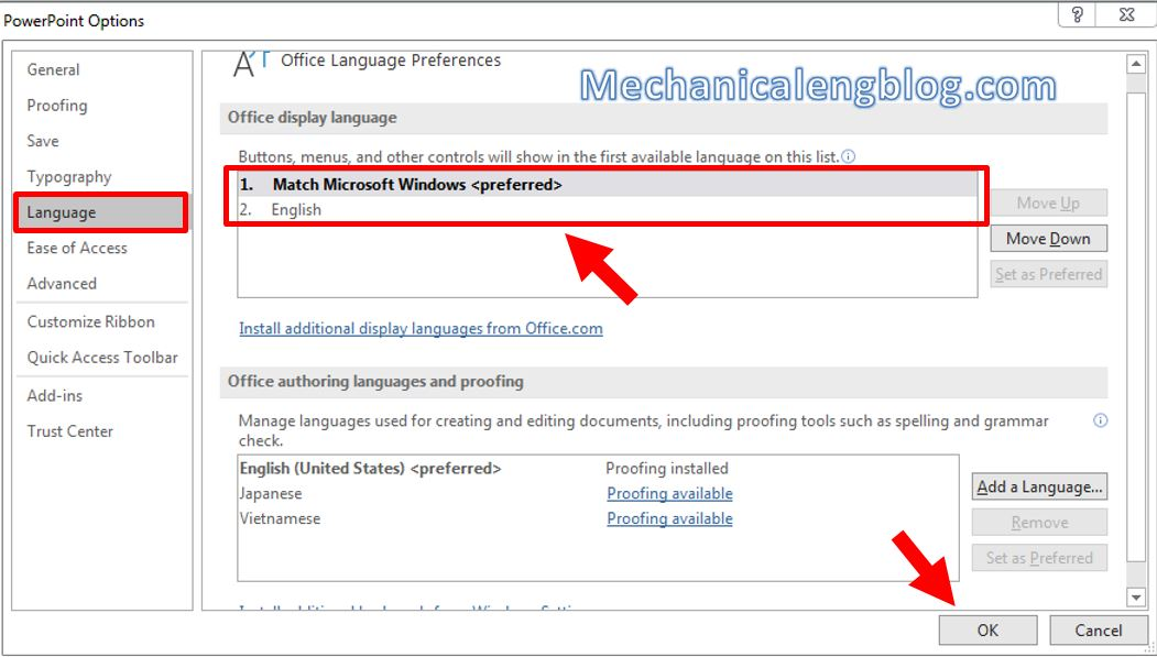 How to change language on Powerpoint 1