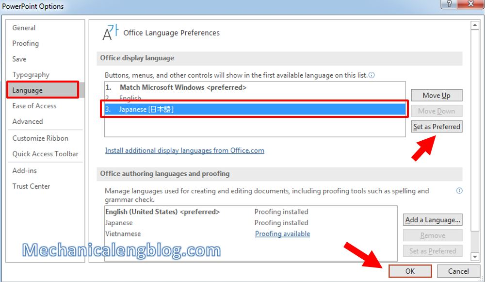 How to change language on Powerpoint 7