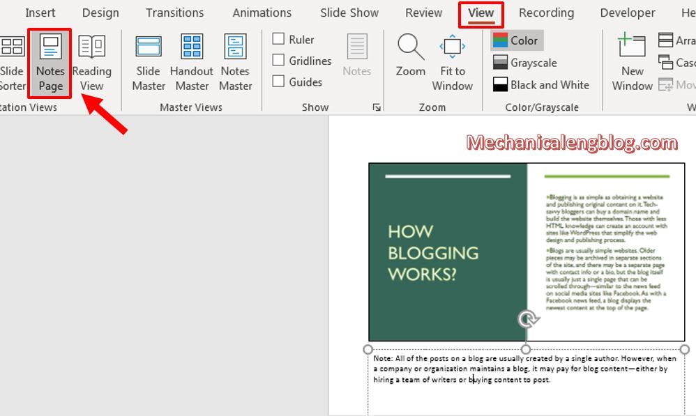 how to add notes to powerpoint 8