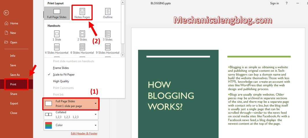 how to add notes to powerpoint 9
