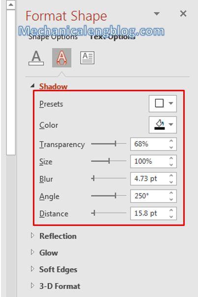 Add shadow effect for object in PowerPoint 7
