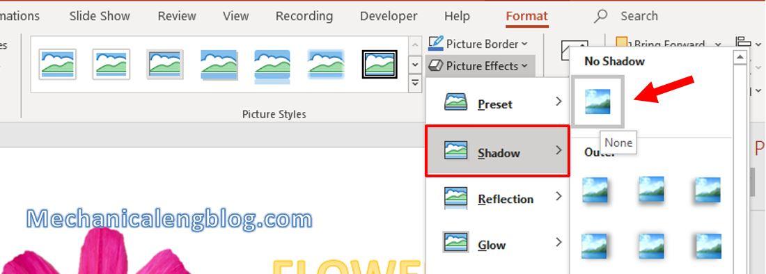 Add shadow effect for object in PowerPoint 8