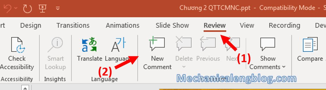 How to add comments in PowerPoint 1