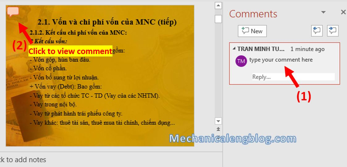 How to add comments in PowerPoint 2