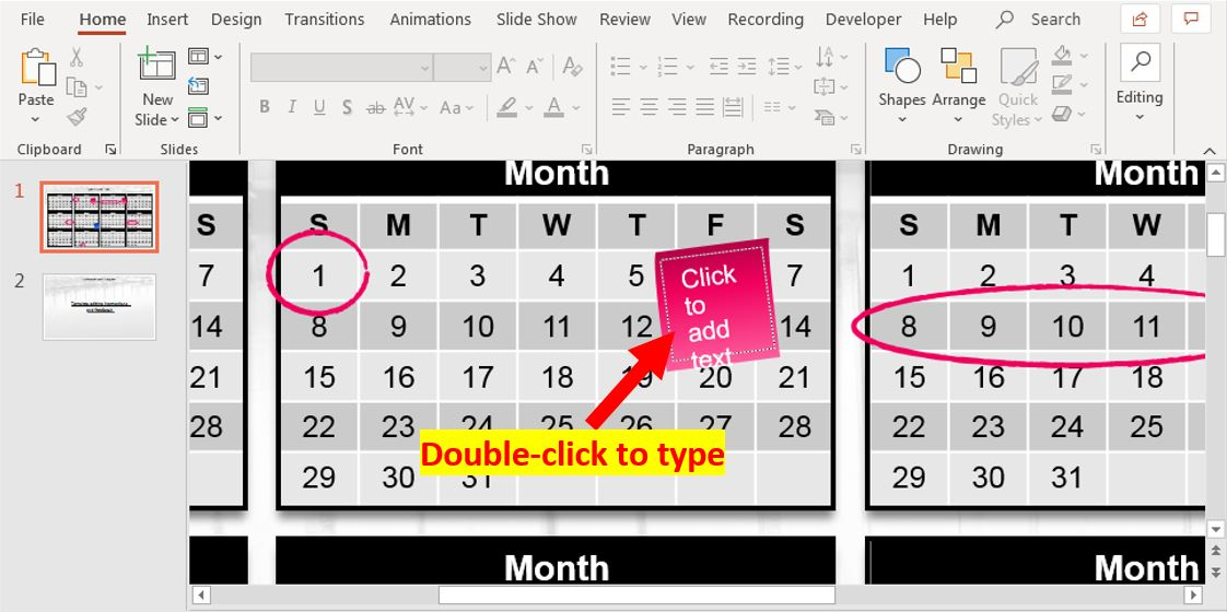 How to insert calendar into PowerPoint 5
