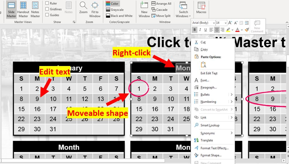 How to insert calendar into PowerPoint 7