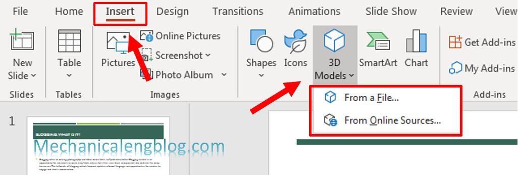 Insert 3D model in PowerPoint 1