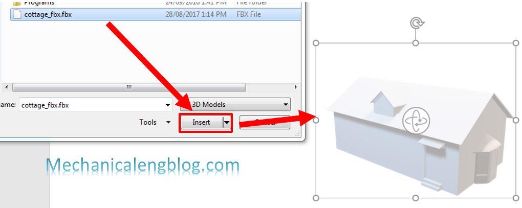 Insert 3D model in PowerPoint 2